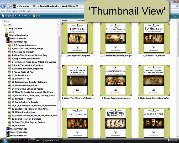 Digital Hardbacks Windows Thumbnails View